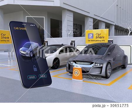 カーシェアリング専用駐車場とスマホアプリ。スマホアプリで指定車のドアロックを解除するイメージ 30651775