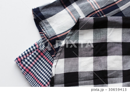 close up of checkered shirt on white backgroundの写真素材 [30659413] - PIXTA