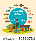 Fisher man fishing camp and vector big fish catch 30660738