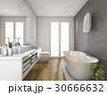 wood bathroom and toilet with daylight from window 30666632
