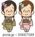 女性 着物 若いのイラスト 30667389