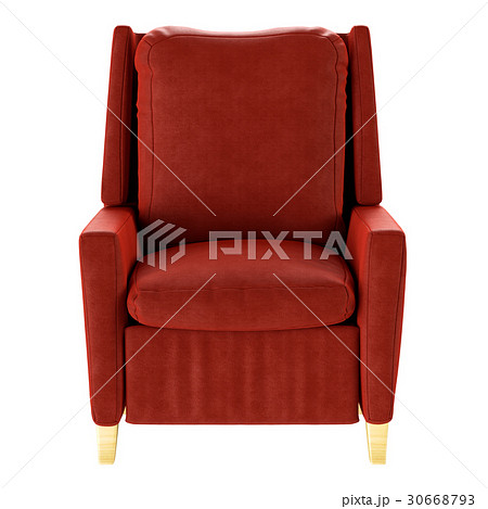 Simple red armchair isolated. Front view. 3d 30668793