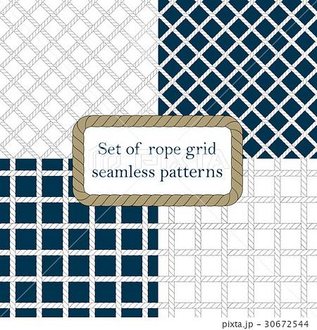 Set of nautical rope seamless fishnet patternsのイラスト素材 [30672544] - PIXTA