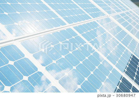 3D illustration solar panels with reflection the 30680947