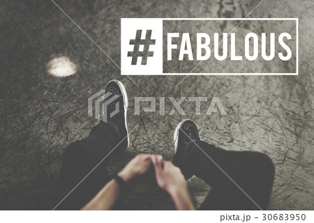 hashtag awesome fabulous cool wordの写真素材 30683950 pixta