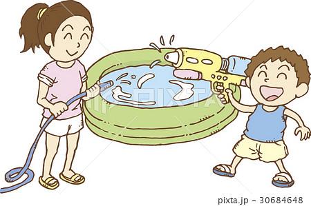 外で水遊び 30684648
