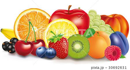 Group of fresh fruit - apple, lemon, apricot 30692631