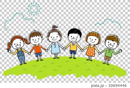 子供たち:みんなで手をつなぐ 30694446