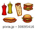 Fast food burger and sandwich sketch set 30695416