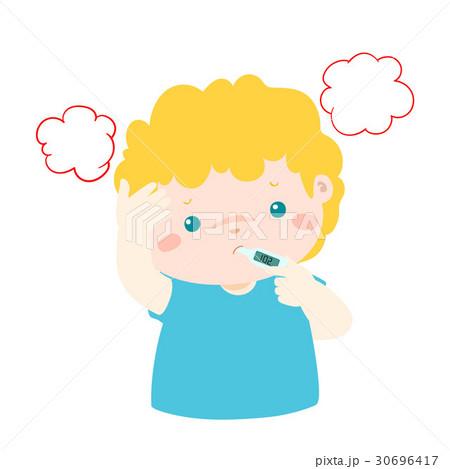 Little boy got high temperature vector cartoon. 30696417