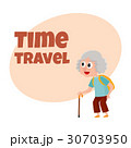 Old, senior woman tourist with backpack and stick 30703950