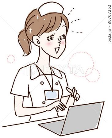 ノートパソコンを使う看護婦さん 30707262
