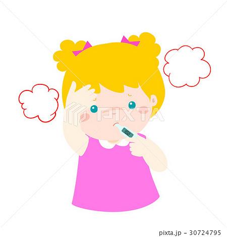 Little girl got high temperature vector cartoon. 30724795