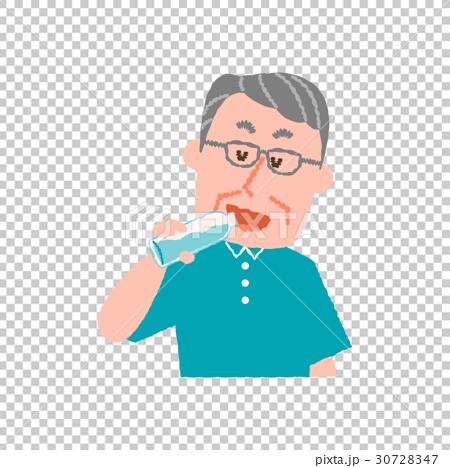 水を飲む高齢男性 30728347