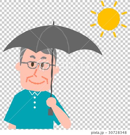 日傘をさす高齢男性 30728348