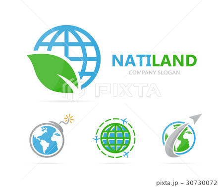 Vector of planet and leaf logo combination. Worldのイラスト素材 [30730072] - PIXTA