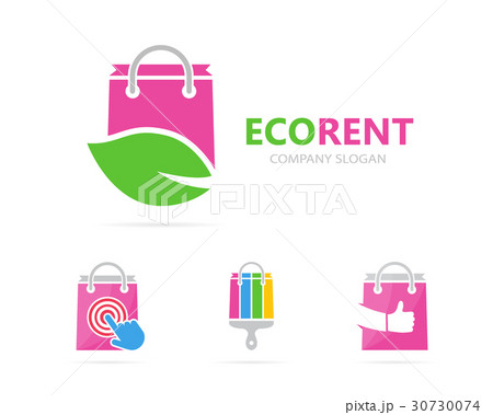 Vector of shop and leaf logo combination. Sale andのイラスト素材 [30730074] - PIXTA