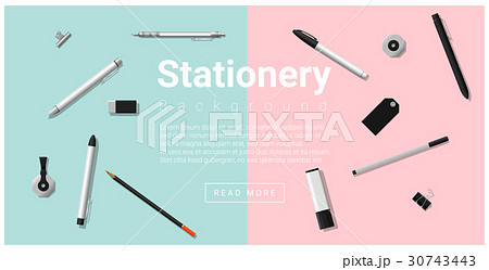 Stationery accessories on colorful background 30743443