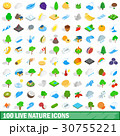 100 live nature icons set, isometric 3d style 30755221