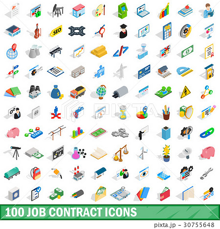 100 job contract icons set, isometric 3d style 30755648