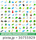 100 natural disasters icons set, isometric style 30755929