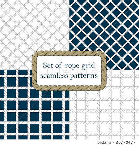 Set of nautical rope seamless fishnet patternsのイラスト素材 [30770477] - PIXTA