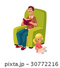 Young man and little girl reading books sitting 30772216