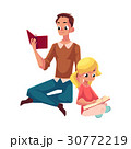 Young man and little girl reading books sitting 30772219