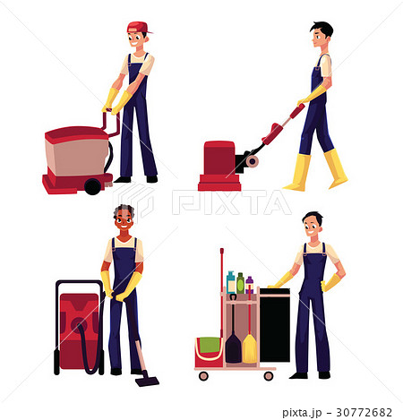 Cleaning service boy with vacuum cleaner, floor 30772682