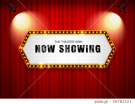 theater sign on curtain with spotlight vector 30781521