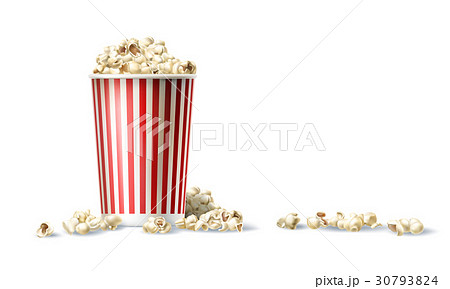 Vector red and white cardboard bucket with popcorn 30793824