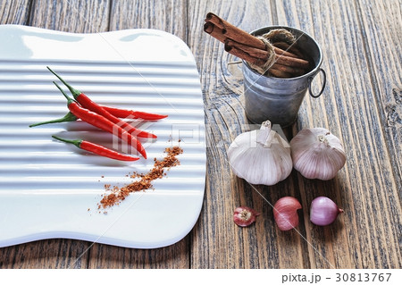 Variety of herb and spices on wooden.の写真素材 [30813767] - PIXTA