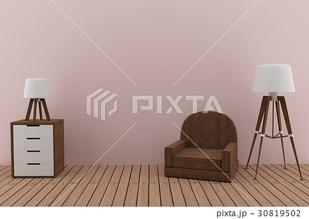 sofa with two lamps in the pink room design in 3Dのイラスト素材 [30819502] - PIXTA