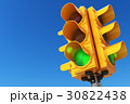 Traffic light with green color on blue sky 30822438
