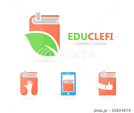 Vector of book and leaf logo combination. Libraryのイラスト素材 [30824679] - PIXTA
