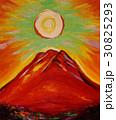 油絵太陽と赤富士山 30825293