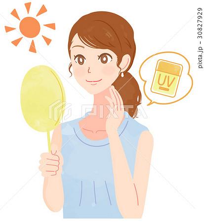 UVケアをする女性のイラスト 30827929
