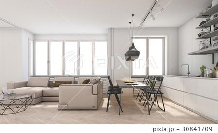 scandinavian living room and kitchenのイラスト素材 [30841709] - PIXTA