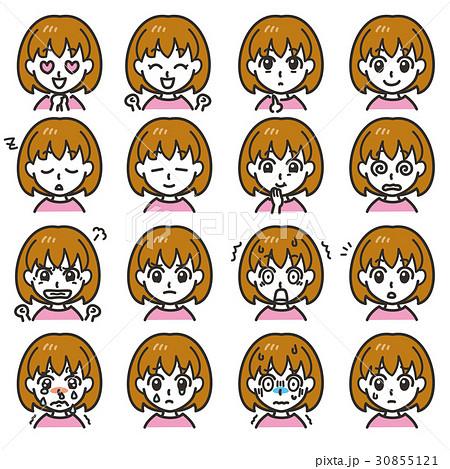 女の子のキャラクター 表情01 30855121
