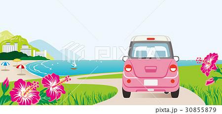海沿いの道をドライブする車 後ろ姿 30855879