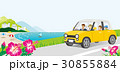 海沿いの道をドライブする車 家族 顔なし 30855884