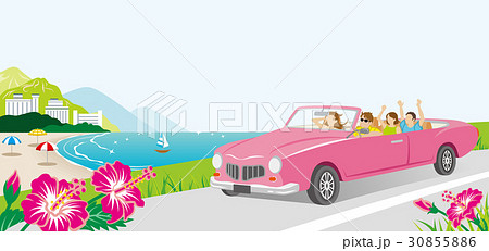 海沿いの道をドライブする車 若者グループ 30855886
