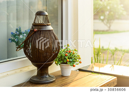 Old wood lamp on the tableの写真素材 [30856606] - PIXTA