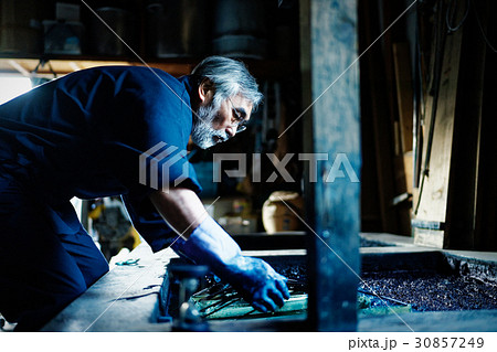 藍染 手捺染 染色 男性 30857249