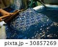 藍染 手捺染 布の写真 30857269