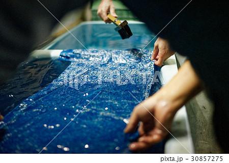 藍染 手捺染 洗い 30857275