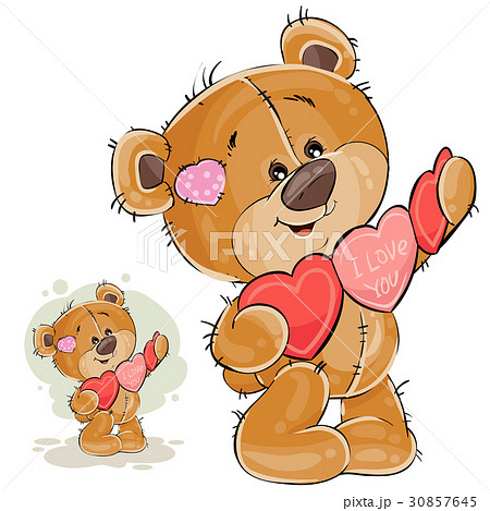 Vector illustration of a brown teddy bear holding 30857645
