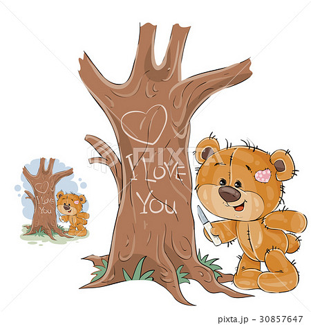 Vector illustration of a loving brown teddy bear 30857647