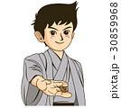 イベントチラシやカタログでカットイラストとして使える将棋を指す棋士を目指す若者のイラスト 30859968