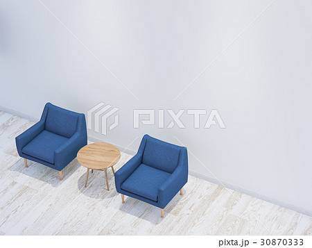 白い部屋といすとテーブル 30870333